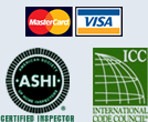Image of Mastercared, Visa, International Code Council, and ASHI logos